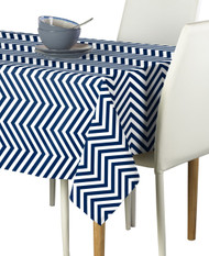 Navy Chevron Milliken Signature Rectangle Tablecloths