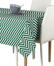 Green Chevron Milliken Signature Rectangle Tablecloths