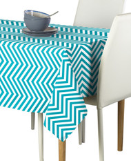 Turquoise Chevron Milliken Signature Rectangle Tablecloths