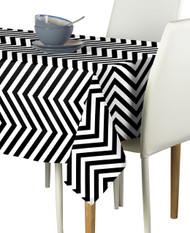 Black Chevron Milliken Signature Rectangle Tablecloths