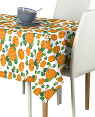 Pumpkin Patch Scroll White Milliken Signature Rectangle Tablecloths