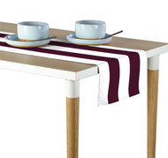 Burgundy & White Cabana Stripe Milliken Signature Table Runner - Assorted Sizes