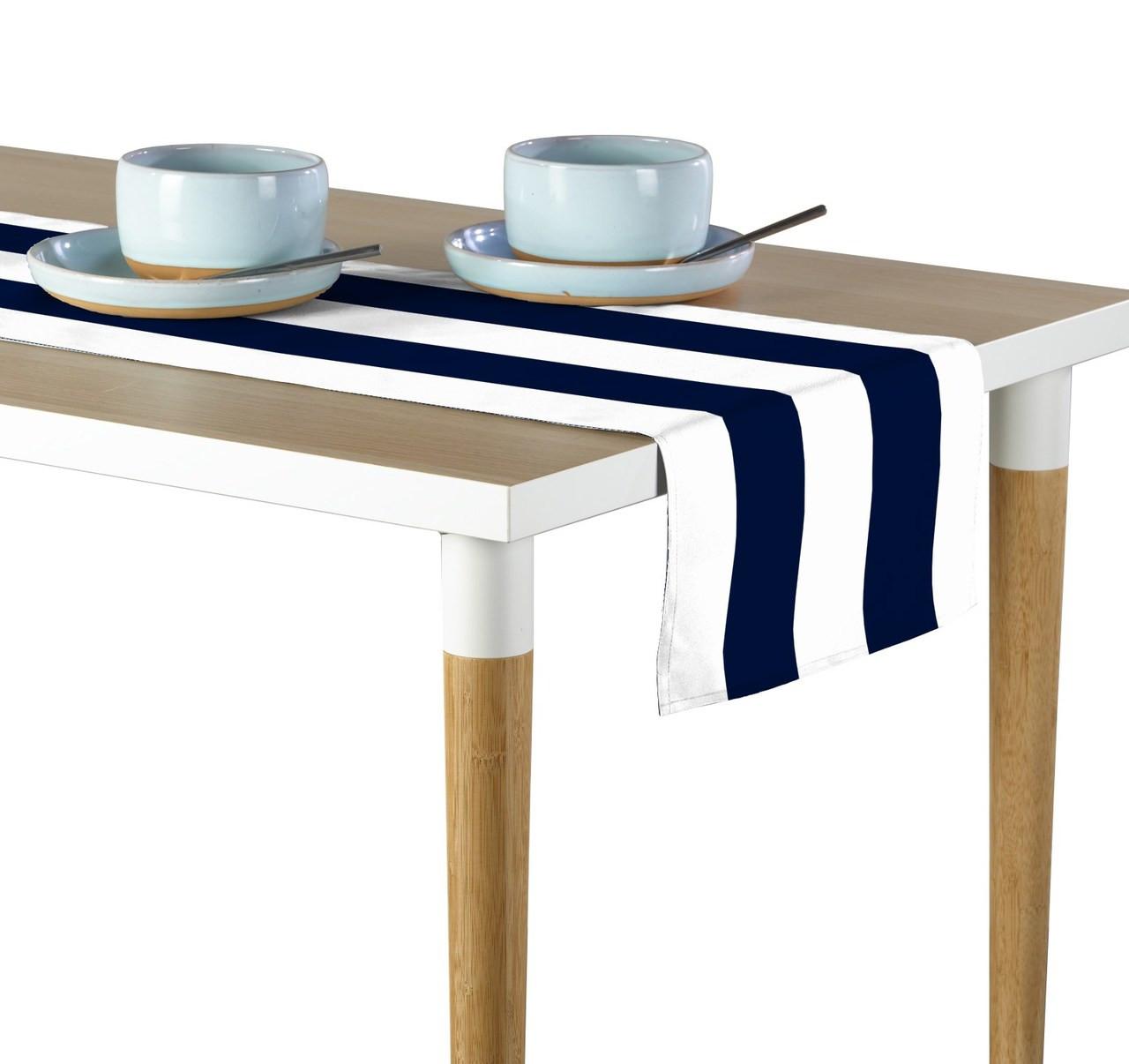Navy White Cabana Stripe Milliken Signature Table Runner Assorted Sizes