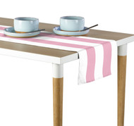 Pale Pink & White Cabana Stripe Milliken Signature Table Runner - Assorted Sizes