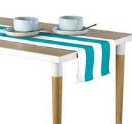 Turquoise & White Cabana Stripe Milliken Signature Table Runner - Assorted Sizes