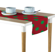 "3"" Green Dot on Red Milliken Signature Table Runner - Assorted Sizes"