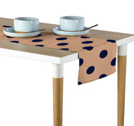 "3"" Navy Dot on Tan Milliken Signature Table Runner - Assorted Sizes"
