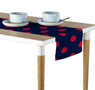 "3"" Red Dot on Navy Milliken Signature Table Runner - Assorted Sizes"