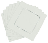Hemstitch Cocktail Napkins - White 6x6