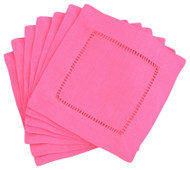 Hemstitch Cocktail Napkins - Hot Pink 6x6