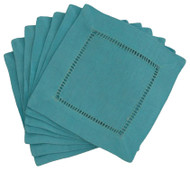 Hemstitch Cocktail Napkins - Turquoise 6x6