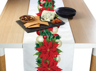 Christmas Poinsettia Border Milliken Signature Table Runner - Assorted Sizes