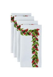 "Christmas Holly Border Milliken Signature Napkins 18""x18"" 1 Dozen"
