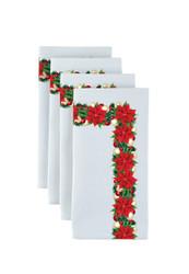 "Christmas Poinsettia Border Milliken Signature Napkins 18""x18"" 1 Dozen"