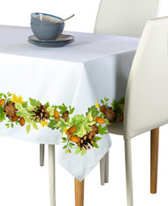 Pine Cones & Leaves Border Milliken Signature Rectangle Tablecloths