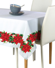 Christmas Poinsettia Border Milliken Signature Rectangle Tablecloths