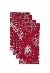"Winter Red Snowflakes Napkins 18""x18"" Dozen"