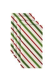 """Christmas Green & Red Diagonal Stripe Napkins 18""""x18"""" Dozen"""