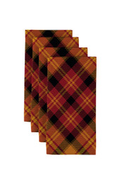 "Fall Harvest Plaid Orange Napkins 18""x18"" Dozen"