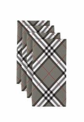 "Gray & Black Plaid Napkins 18""x18"" Dozen"