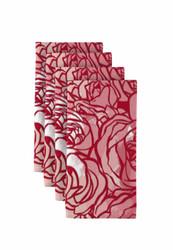 "Pink Hand Drawn Roses Napkins 18""x18"" 1 Dozen"
