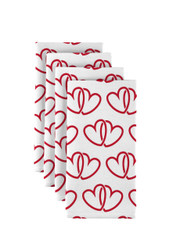 "A Pair of Hearts White Napkins 18""x18"" 1 Dozen"
