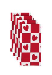 "Checkmate Hearts Red Napkins 18""x18"" 1 Dozen"
