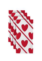 "Hearts Diagonal Stripe Napkins 18""x18"" 1 Dozen"
