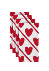 "Hearts Diagonal Stripe Napkins 18""x18"" 1 Dozen"