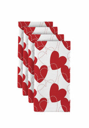 "Bunches of Hearts Red Napkins 18""x18"" 1 Dozen"