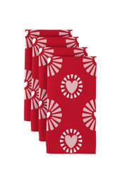 "Hearts in Bloom Red Napkins 18""x18"" 1 Dozen"