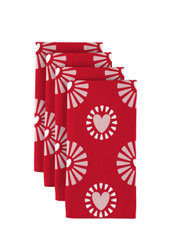 "Hearts in Bloom Red Napkins 18""x18"" 1 Dozen"