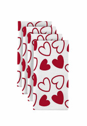 "Tossed Hearts Red & White Napkins 18""x18"" 1 Dozen"