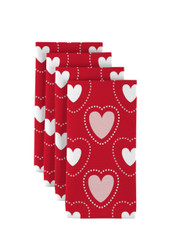"Hearts in Stitches Red Napkins 18""x18"" 1 Dozen"