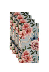 "Floral & Feathers Napkins 18""x18"" 1 Dozen"