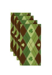 "Lucky Green Shamrock Argyle Napkins 18""x18"" 1 Dozen"