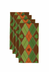 "Lucky Green & Orange Shamrock Argyle Napkins 18""x18"" 1 Dozen"