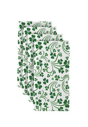 "Shamrock Scroll White Napkins 18""x18"" 1 Dozen"