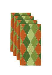 "Orange & Green Argyle Plaid Napkins 18""x18"" 1 Dozen"