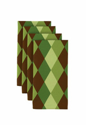"Green & Brown Plaid Milliken Signature Napkins 18""x18"" 1 Dozen"