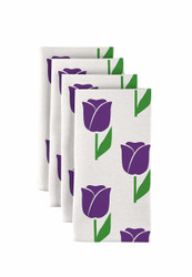 """Spring Tulips Purple Milliken Signature Napkins 18""""x18"""" 1 Dozen"""