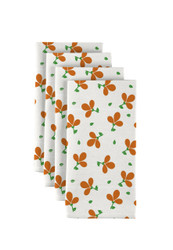 "Orange Spring Flowers Milliken Signature Napkins 18""x18"" 1 Dozen"