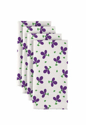 "Purple Spring Flowers Milliken Signature Napkins 18""x18"" 1 Dozen"