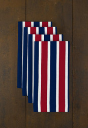 "Red & Blue Stripes  Milliken Signature Napkins 18""x18"" 1 Dozen"