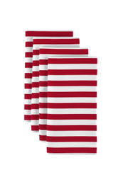 "Red Small Stripes Milliken Signature Napkins 18""x18"" 1 Dozen"