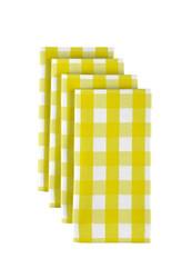 "Yellow Picnic Check Milliken Signature Napkins 18""x18"" 1 Dozen"