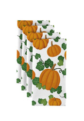 "Pumpkin Patch Scroll White Milliken Signature Napkins 18""x18"" 1 Dozen"