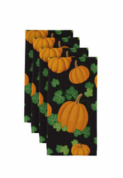 "Pumpkin Patch Scroll Black Milliken Signature Napkins 18""x18"" 1 Dozen"