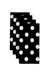 "White Dots on Black Milliken Signature Napkins 18""x18"" 1 Dozen"