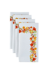 "Autumn Leaves Border Milliken Signature Napkins 18""x18"" 1 Dozen"